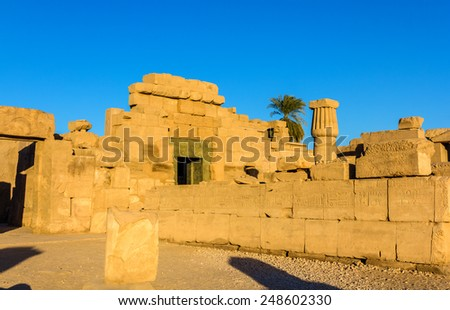 East Exterior Wall of the Karnak Temple - Egypt - stock photo