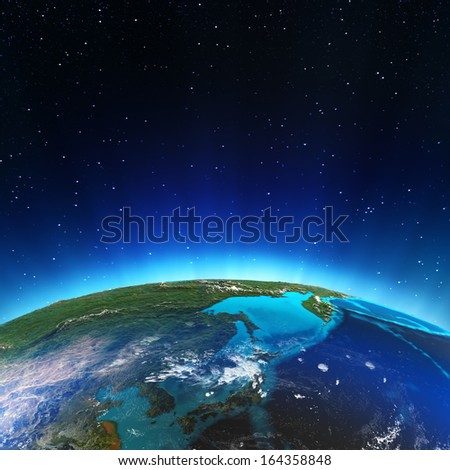 East from space. Elements of this image furnished by NASA - stock photo