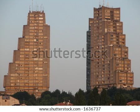 East gate of Belgrade at sunset - stock photo
