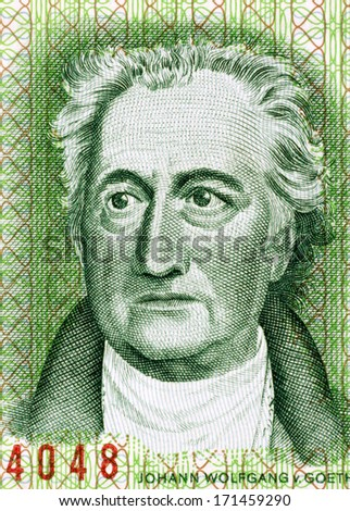 EAST GERMANY - CIRCA 1975: Johann Wolfgang von Goethe (1849-1932) on 20 Marks 1975 Banknote from East Germany. German writer, artist and politician. - stock photo
