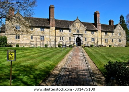 East Grinstead, England - July 26. Sackville College is a Jacobean Almshouse founded by Robert Sackville in 1609 and still in use as an Almshouse today. July, 26, 2015, in East Grinstead, England  - stock photo