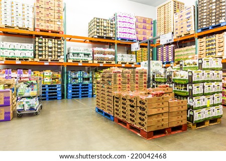 EAST HANOVER, NJ, USA - SEPTEMBER 27, 2104: Fresh Produce refrigerated room in a Costco store. Costco Wholesale Corporation, a membership only warehouse club, is the second largest retailer in USA. - stock photo