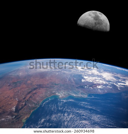 East India (Madras) from space with the Moon above. Elements of this image furnished by NASA.  - stock photo