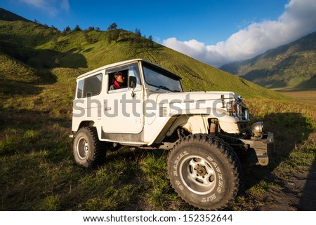 EAST JAVA,INDONESIA-MAY 05 : Tourists Jeep for tourist rent at Mount Bromo,The active Mount Bromo is one of the most visited tourist attractions on May 05,2013 in East Java , Indonesia.