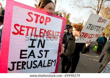 EAST JERUSALEM - JANUARY 28: Activists protesting Jewish settlements in the Sheikh Jarrah neighborhood of East Jerusalem on Jan. 28, 2011.