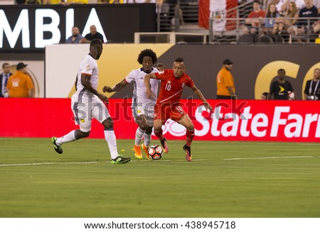 East Rutherford, NJ USA - June 17, 2016: Christian Cueva (10) Peru controls ball during quaterfinal game between Columbia & Peru. Columbia won 0 (4) - 0 (2) by penalty kicks - stock photo