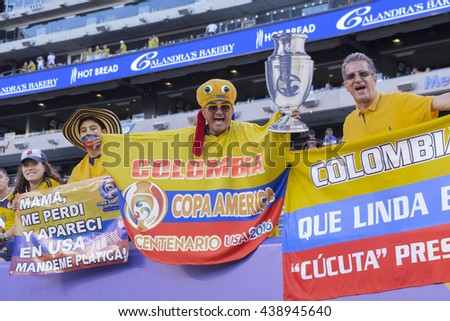 East Rutherford, NJ USA - June 17, 2016: Columbian fans celebrate beginning of quaterfinal game between Columbia & Peru. Columbia won 0 (4) - 0 (2) by penalty kicks - stock photo