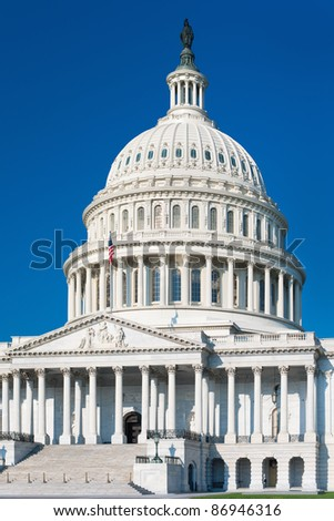 East side view of the United States Capitol Building; GPS information is in the file - stock photo