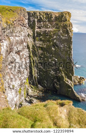 East top of Europe - cliffs on Latrabjarg, Iceland. - stock photo