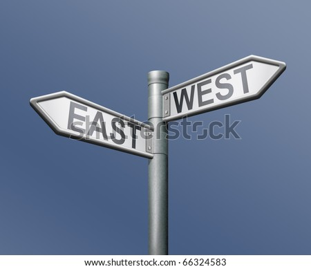east west road sign on blue background