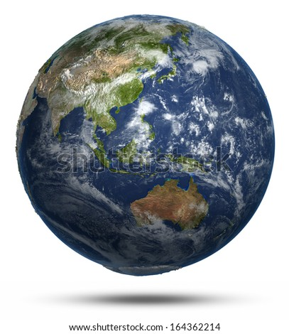East world map. Earth globe model, maps courtesy of NASA - stock photo