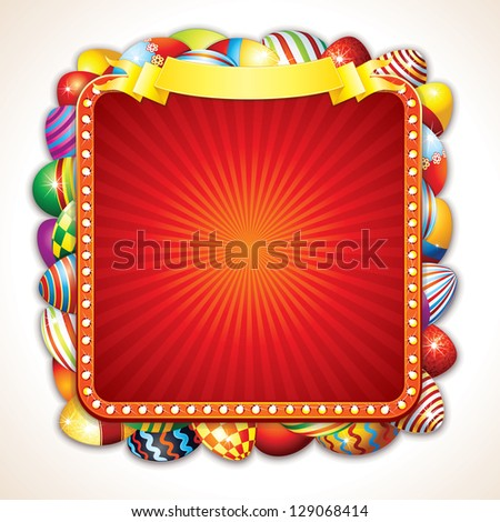Easter Advertising Billboard with Bunch of Colorful Painted Eggs. Image with Space for Your Text. - stock photo