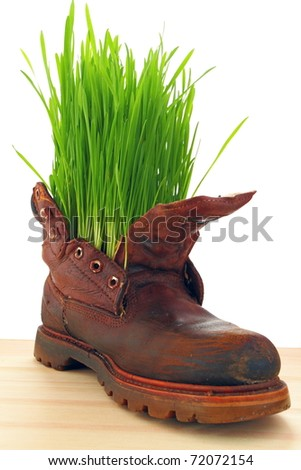 Easter and spring comes everywhere, even in the old soldier's boot - stock photo