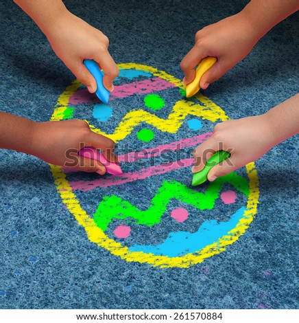 Easter arts and crafts concept as a group of children with chalk drawing a decorated egg on an asphalt texture as a symbol for cooperation and fun seasonal activities for kids. - stock photo