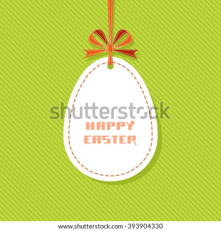 Easter background. Banner in shape of egg with ribbon and bow. Decorative green illustration for print, web - stock photo
