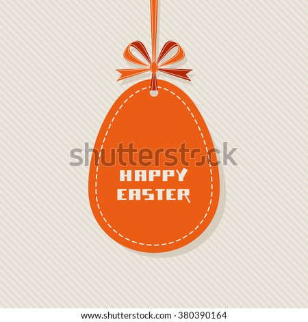 Easter background. Banner in shape of egg with ribbon and bow. Decorative illustration for print, web - stock photo