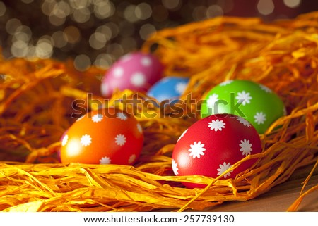 Easter background - Colored eggs  - stock photo