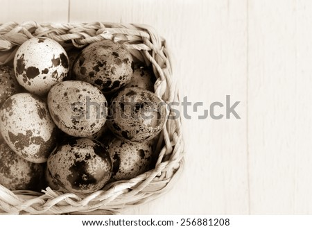 Easter background. Colorful easter eggs in white basket. Black and white. - stock photo