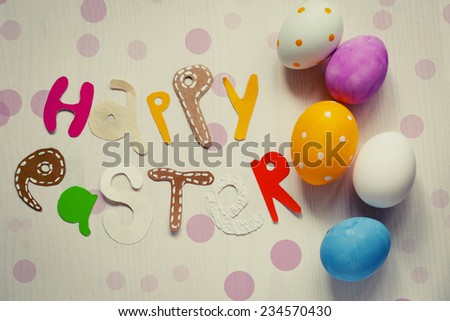 Easter background with colorful eggs   - stock photo
