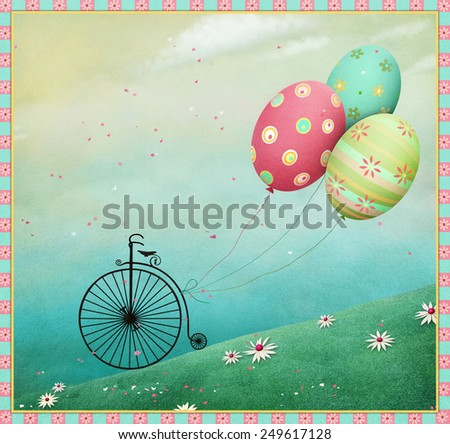 Easter background with eggs and bicycle balls.  - stock photo