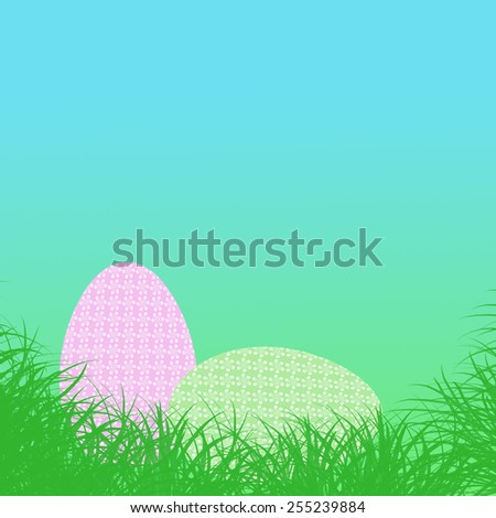 Easter background with eggs in grass - stock photo
