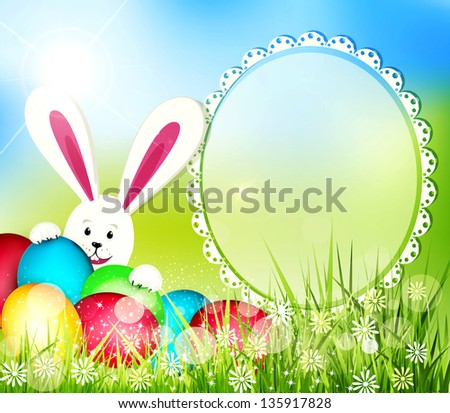 easter background with frame for text, rabbit and eggs