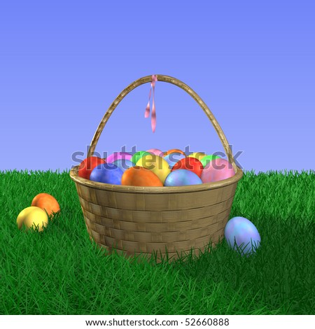Easter basket filled with eggs on grass.