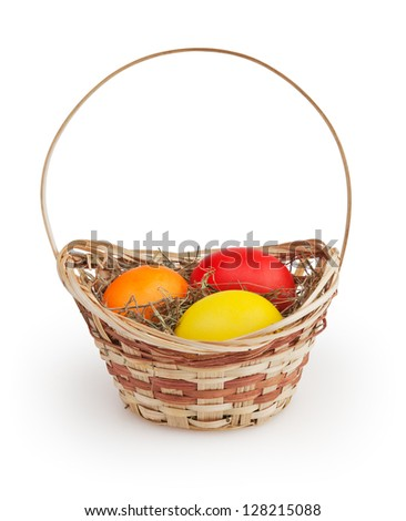 Easter basket isolated on white background with clipping path - stock photo