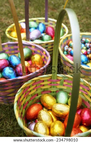 Easter Basket with Chocolate Eggs - stock photo