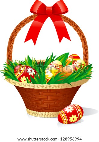 Easter basket with color eggs on green grass isolated on white background..