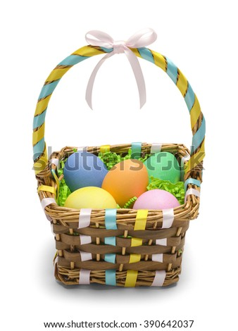 Easter Basket With Colored Eggs Isolated On White Background