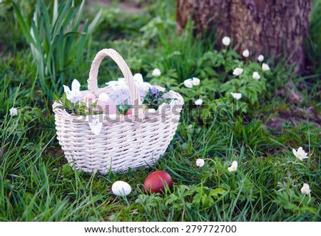 Easter basket with food on green grass at sunny day