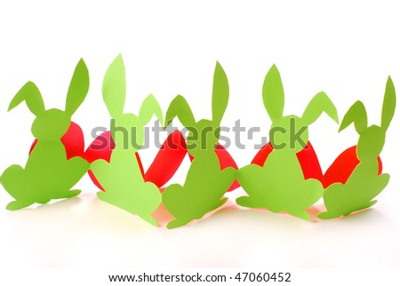 easter border with paper bunnies and eggs