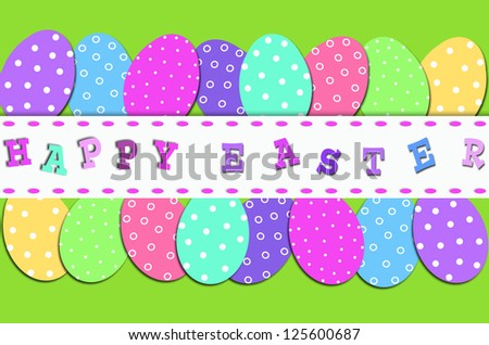easter border with rows of colorful eggs in dots and greetings