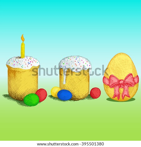 Easter bread and eggs. Colorful image. Doodle style. Raster version