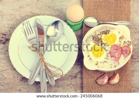 Easter breakfast with Polish veal sausage  - stock photo