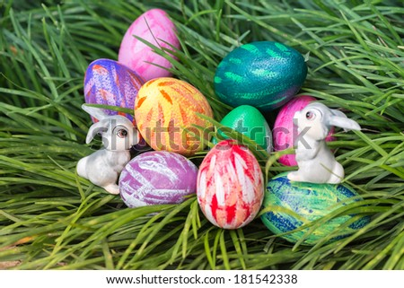 Easter bunnies looking at each other with eggs on green grass background