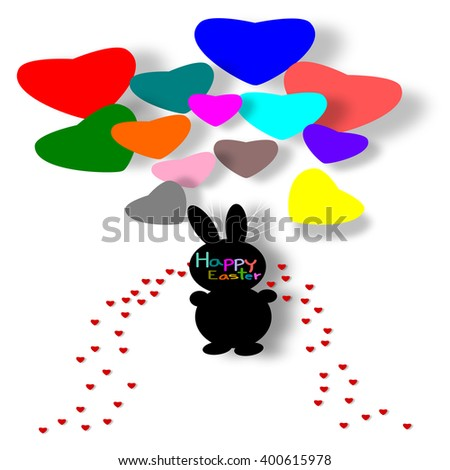 Easter Bunny and Balloon heart on white background, paper cut style