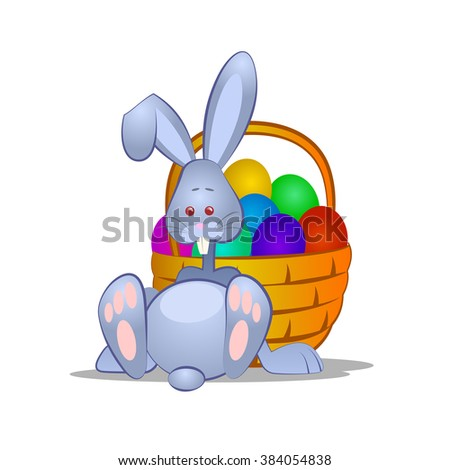 Easter bunny and basket with eggs