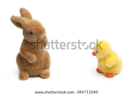 Easter Bunny and chick, Isolated on white - stock photo