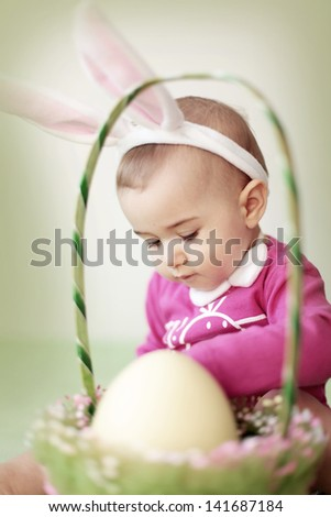 Easter bunny baby - stock photo