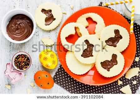 Easter bunny cookies holiday dessert with chocolate creative idea for kids party and festive Easter breakfast - stock photo