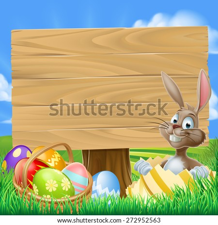 Easter Bunny Egg Hunt Sign with a cartoon Easter bunny and a basket of decorated chocolate Easter eggs