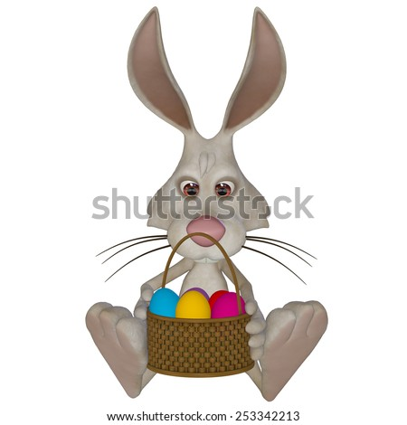 Easter bunny holding a basket with Easter eggs