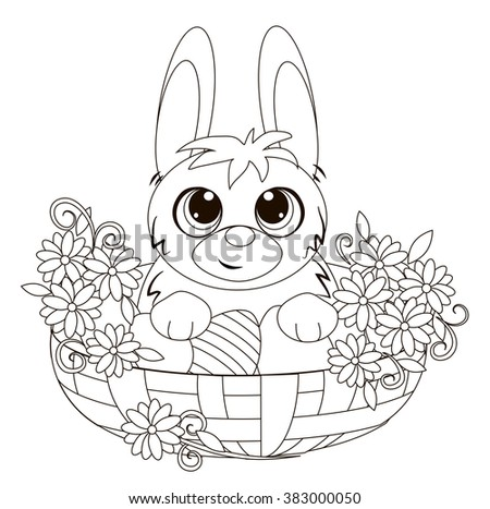 Easter Bunny in a basket. Coloring book.