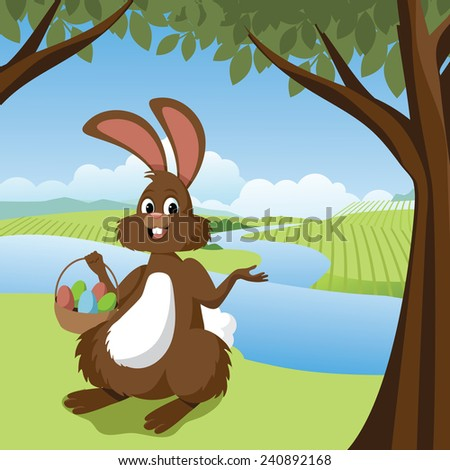 Easter bunny in a meadow stock illustration