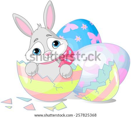 Easter bunny in the broken Easter egg. Raster version.   - stock photo