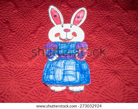 Easter Bunny made of paper and decorated at school. - stock photo