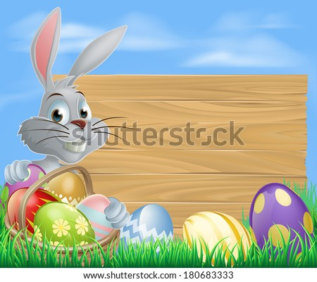 Easter bunny rabbit and sign with chocolate painted Easter eggs