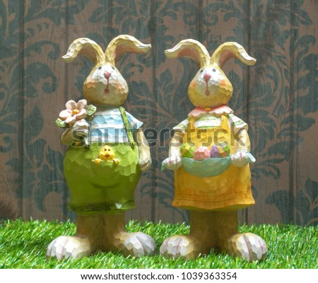 Easter Bunny Easter Eggs Rabbit Statues Stock Photo 603852878